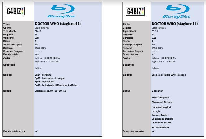 Scheda Tecnica Bluray - Doctor Who - Stagione 11 - Disco 1 e 2