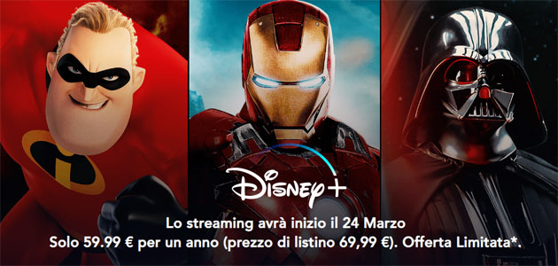 Disney+ disponibile da oggi in preorder a €59.99!